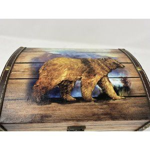 Brown Grizzly Bear Keepsake Jewelry Wooden Chest